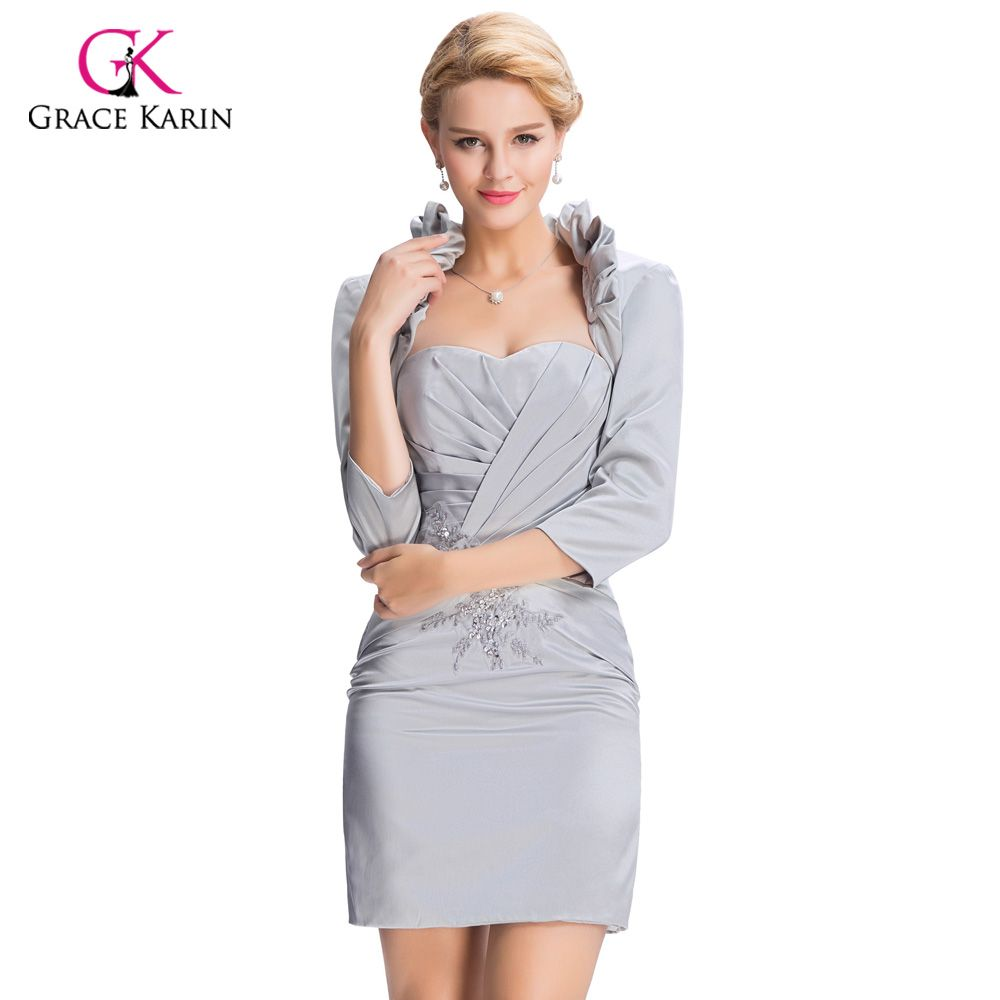 Elegant gray short evening dresses with sleeves jacket women formal