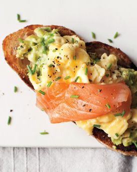 Scrambled eggs, avocado and salmon on toast