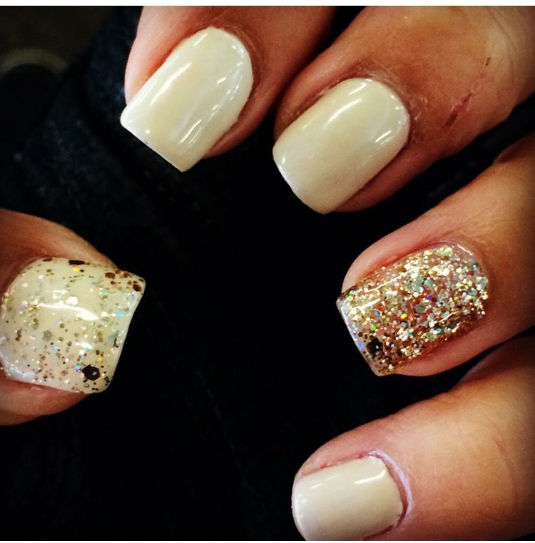 Natural nails Gelish -Do You Think I'm Buff , Beige and Gold