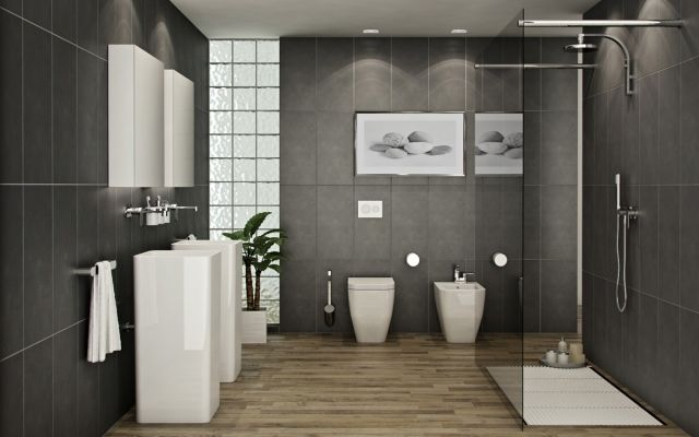 Badezimmer Holzboden Bodengleiche Dusche Glas Abtrennung Graue Wandfliesen