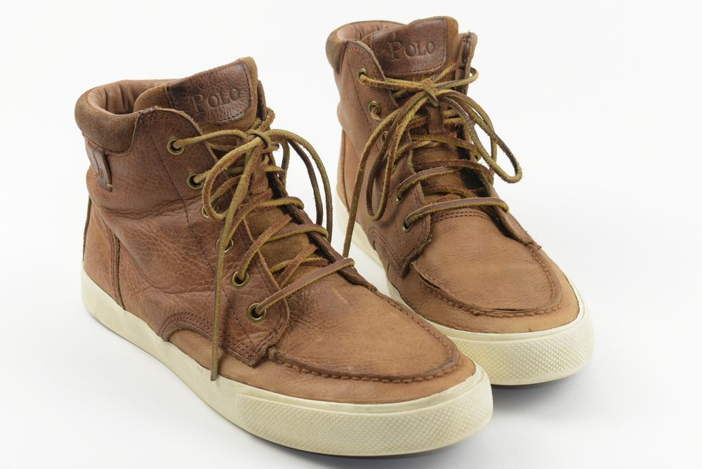 Retro Vintage Pull-Up Grain Leather Polo Ralph Lauren Hi Top Sneakers Shoes  9.5D