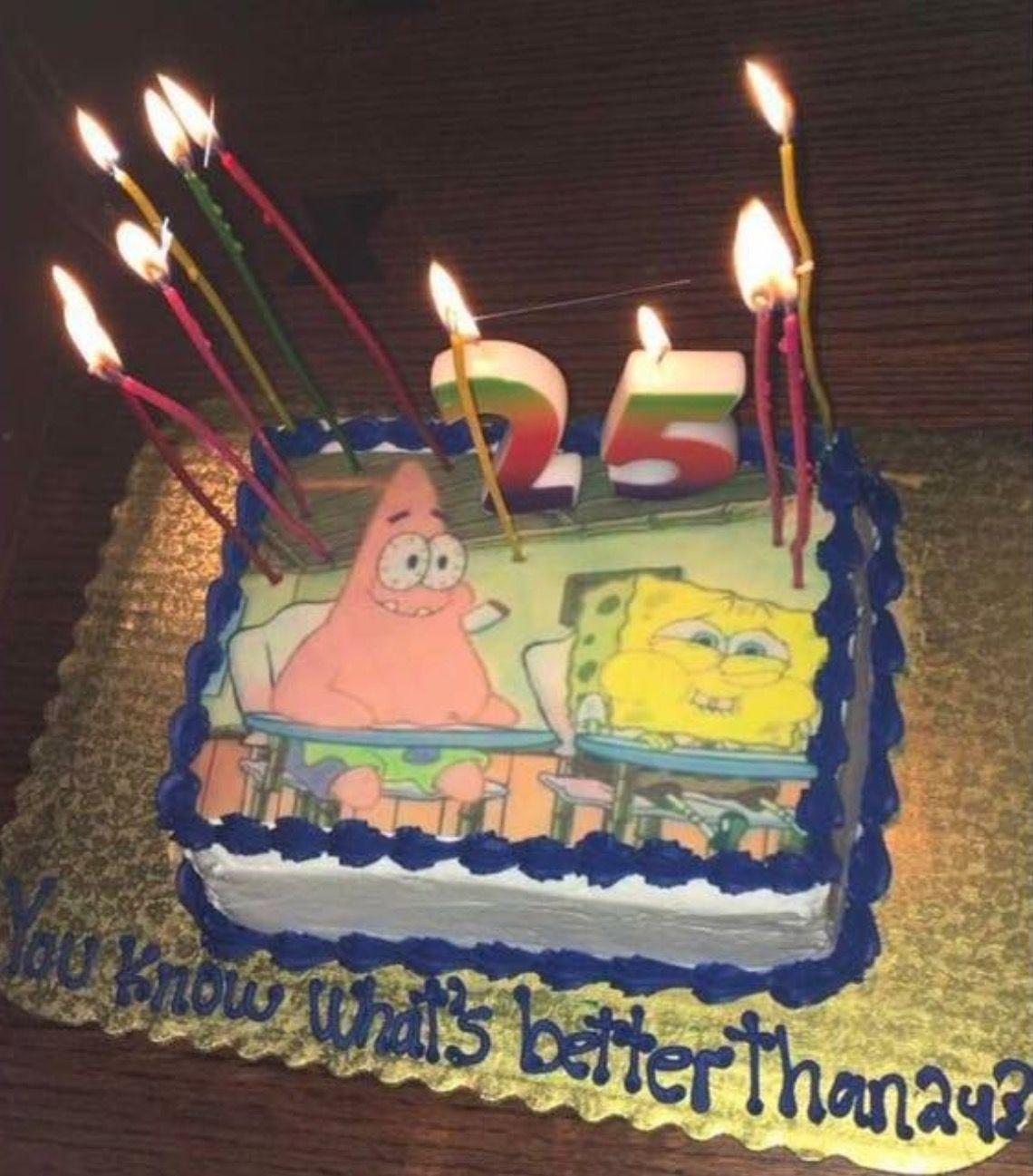 25th Birthday Cake Spongebob Themed Birthdays Funny Birthday Cakes 25th Birthday Cakes Spongebob Birthday