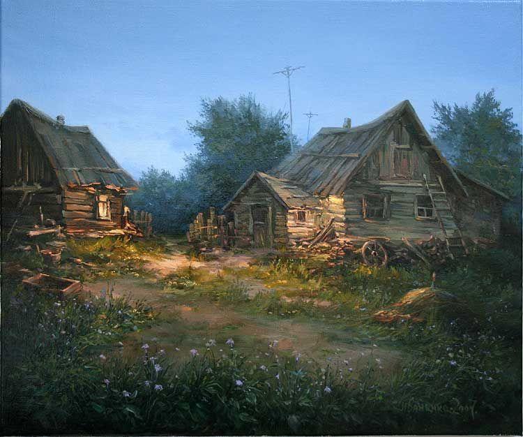 деревенская русская избушка красочная картинка периодически давать ноготкам