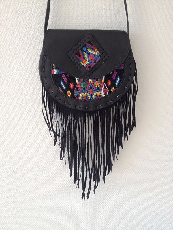 Gypsy fringe!!  Love this handmade leather bag!  Made in Guatemala by the Maya culture!