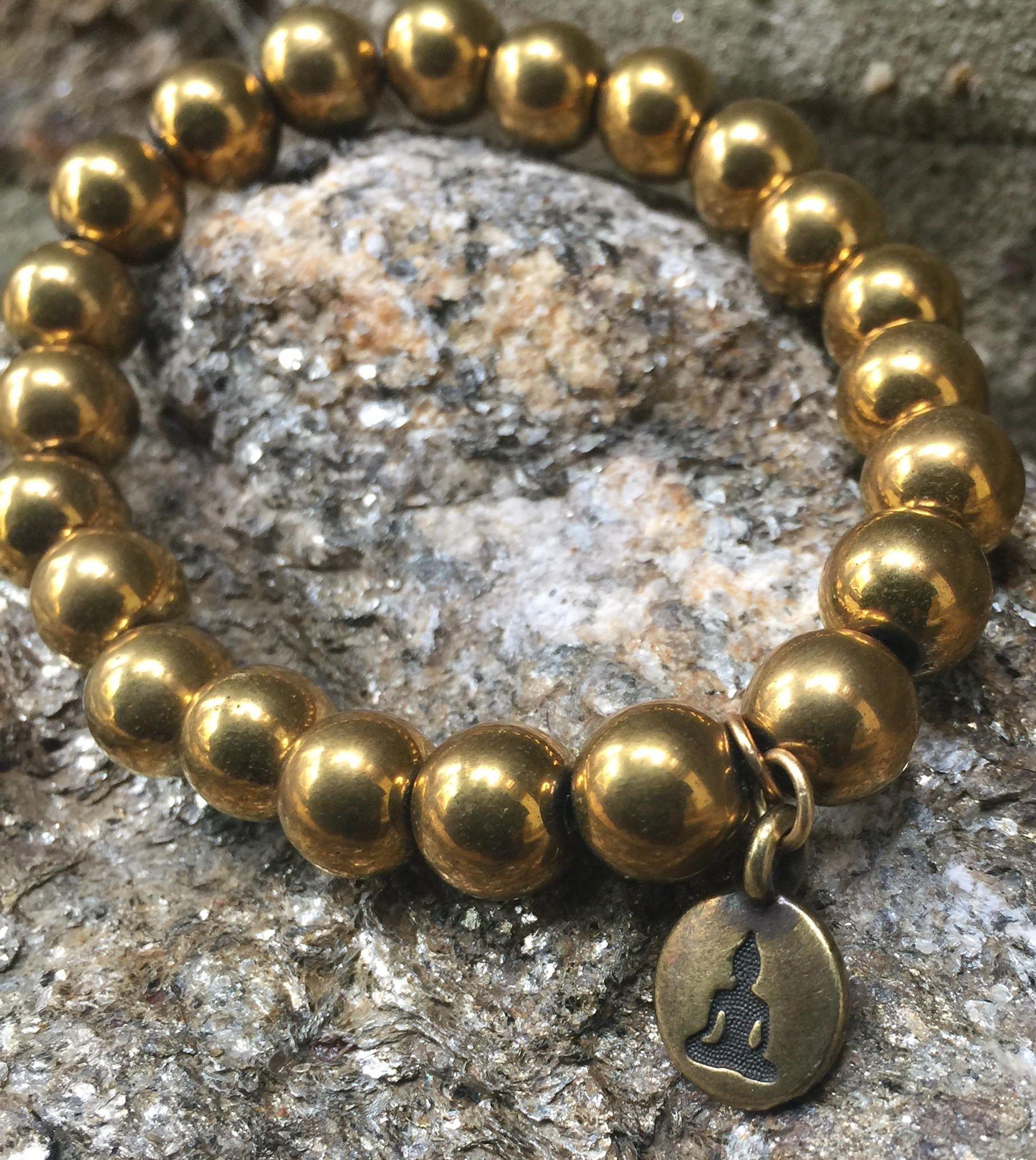 Gold Hematite Bronze Buddha Beaded Bracelet Bronze Buddha Charms Gift