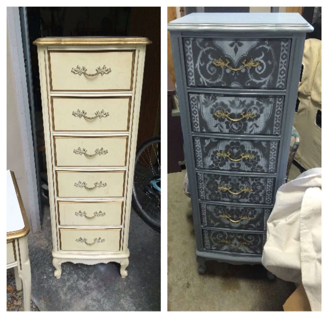 Best Antique White Gold Tall Dresser Changed Into A Cool 400 x 300