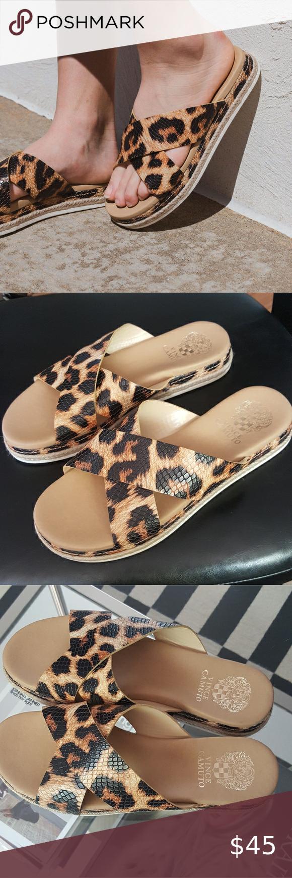 Vince Camuto Rickert Leopard Slide Sandals Vince Camuto leopard sandals great condition size 8.5 Vince Camuto Shoes Sandals