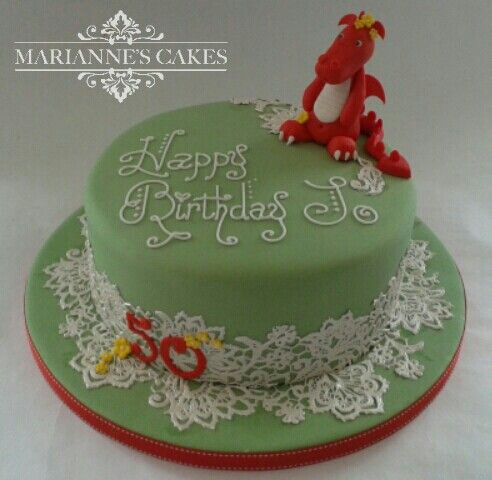 Welsh themed cake with lace and red wales dragon Mariannes Cakes