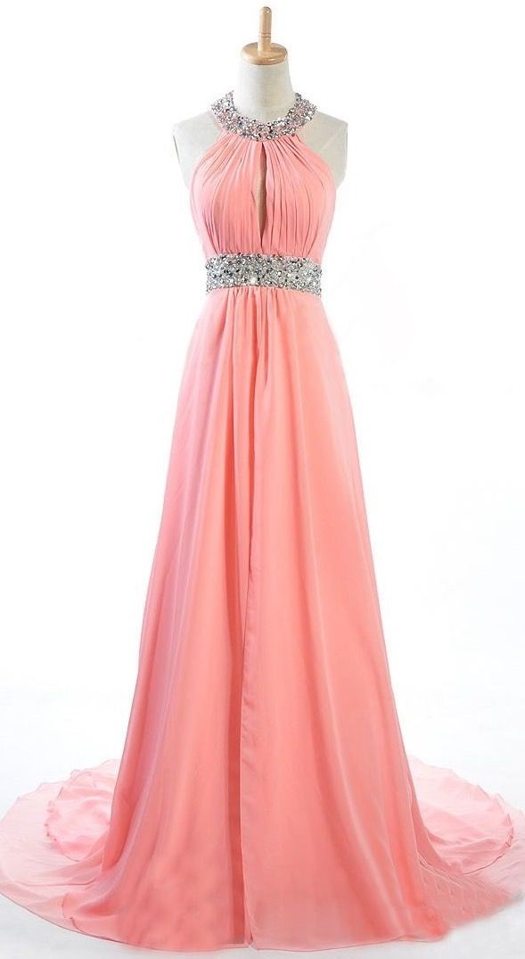 Made To Order Handmade Coral Halter Sequins Long Prom Dresses, Coral ...