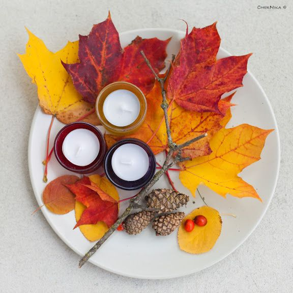 Table arrangements for Fall (Candles & Leaves & Acorns, etc.)