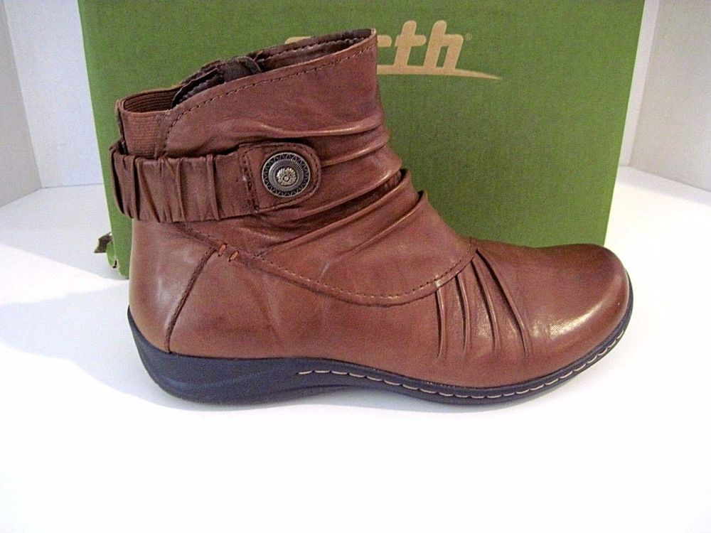 Earth Thyme Boot Leather Womens Ankle Boots Low Heel Size 8 1/2 B Excellent #EARTH #ANKLEBOOTS #Casual