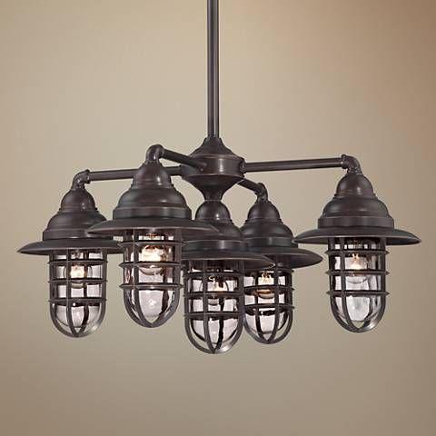 Marlowe 32 W Nautical Bronze 5 Light Outdoor Chandelier 1g960 Lamps