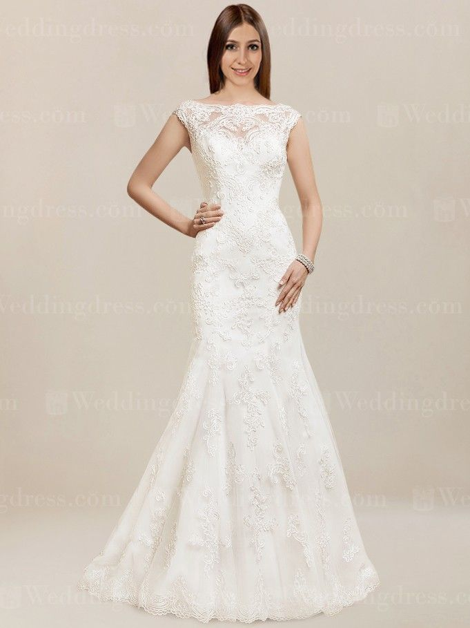 a7b5a317c6 Lace cap sleeve wedding dress will have all eyes on you for your special  day!