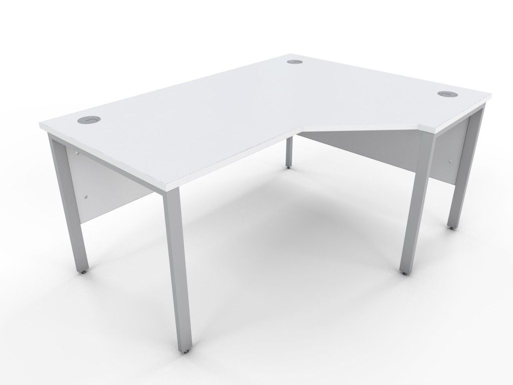 1600mm x 1200mm white corner desk with cable access ports from the uks leading discount office furniture supplier optional steel cable trays available