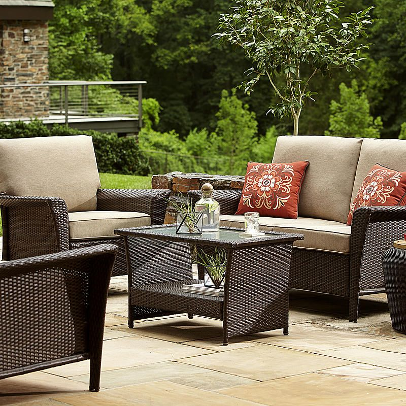 Ty Pennington Style Parkside 4 Piece Deep Seating Set Patio Furniture Layout Patio Furnishings Outdoor Patio Decor