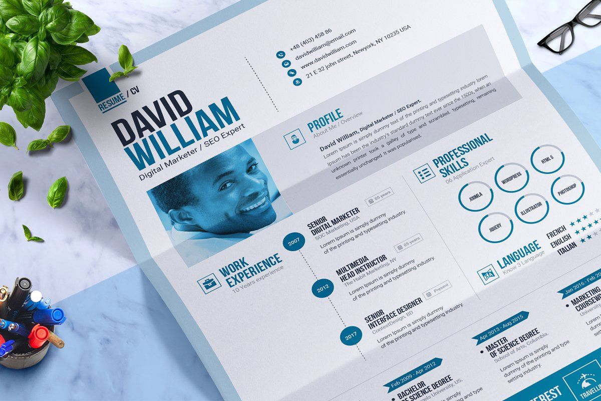 ad  word resume    cv template design by contestdesign on