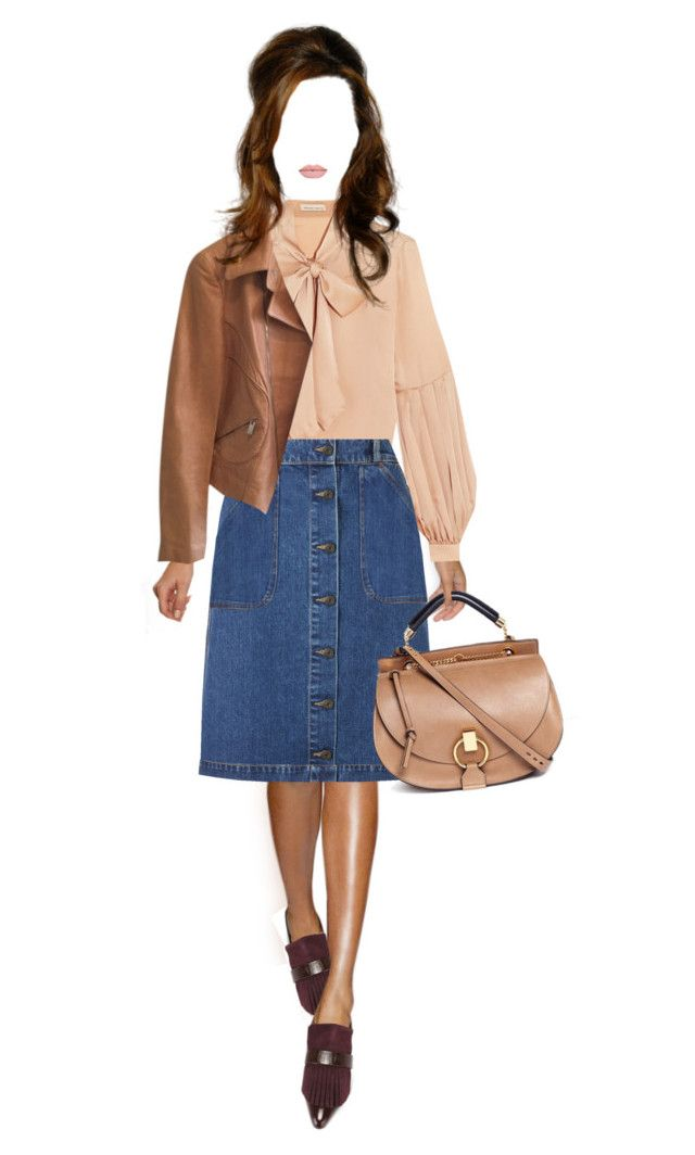 """""""Spring 2016: Jeans Skirt"""" by malbina-82 ❤ liked on Polyvore featuring Merchant Archive, John Lewis, Valentino, Armani Collezioni, Proenza Schouler and Chloé"""