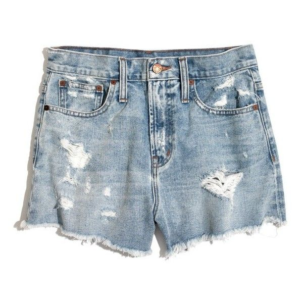 Women's Madewell Perfect Jean Shorts (857.590 IDR) ❤ liked on Polyvore featuring shorts, jean shorts, high waisted cut off shorts, denim cut-off shorts, distressed jean shorts and distressed denim shorts