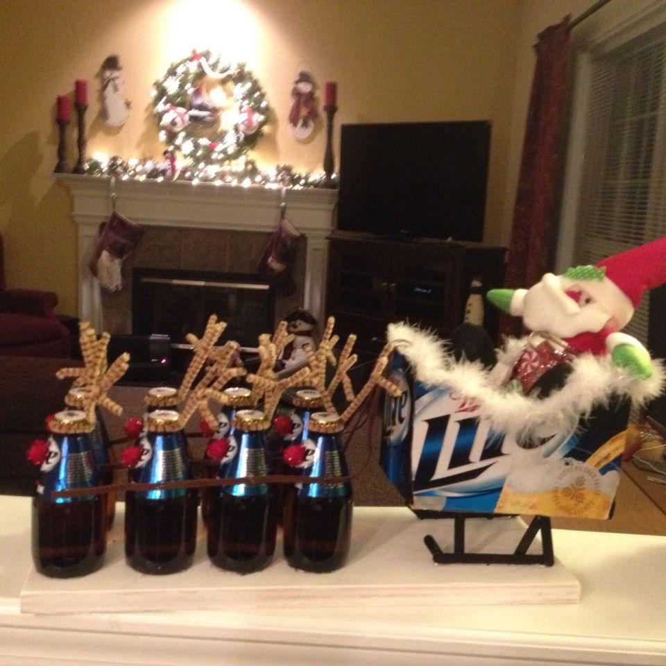 Cute beer reindeer sleigh for Christmas | Christmas decorations ...