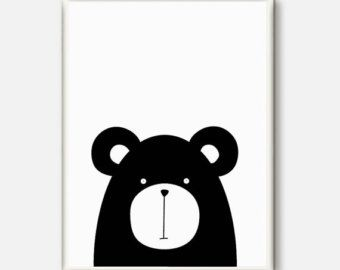 NEW nursery bear illustration black and white by CocoandBlu