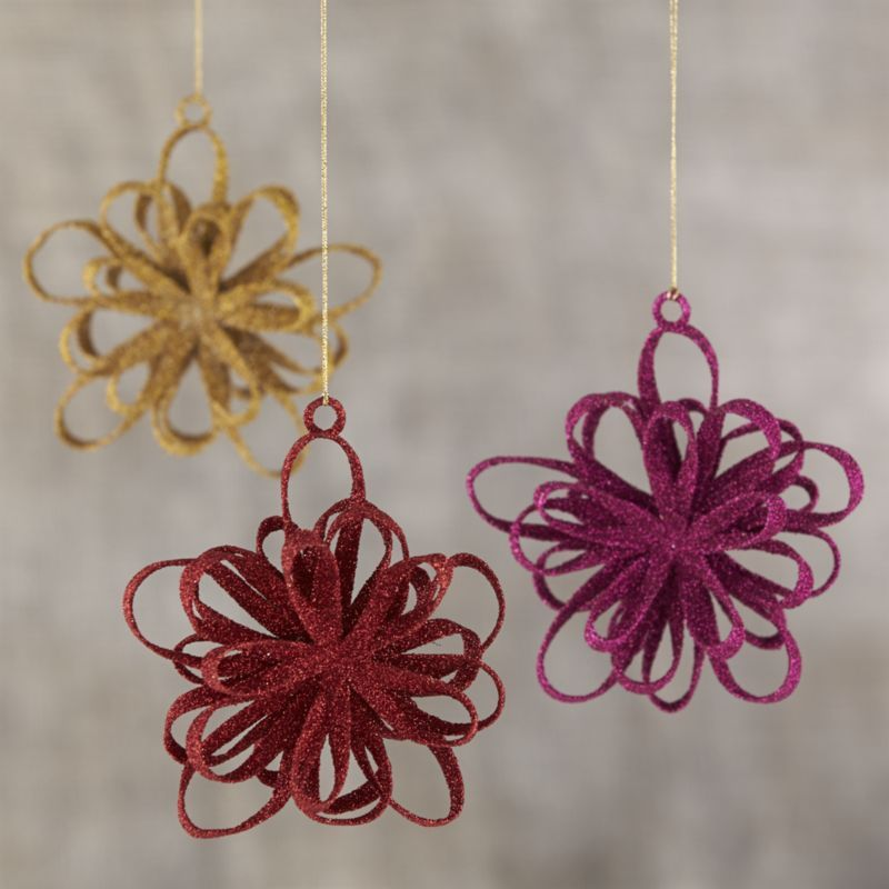 Global Glitter Loopy Snowflake Ornaments  | Crate and Barrel | I'm using these to decorate our tree this year!