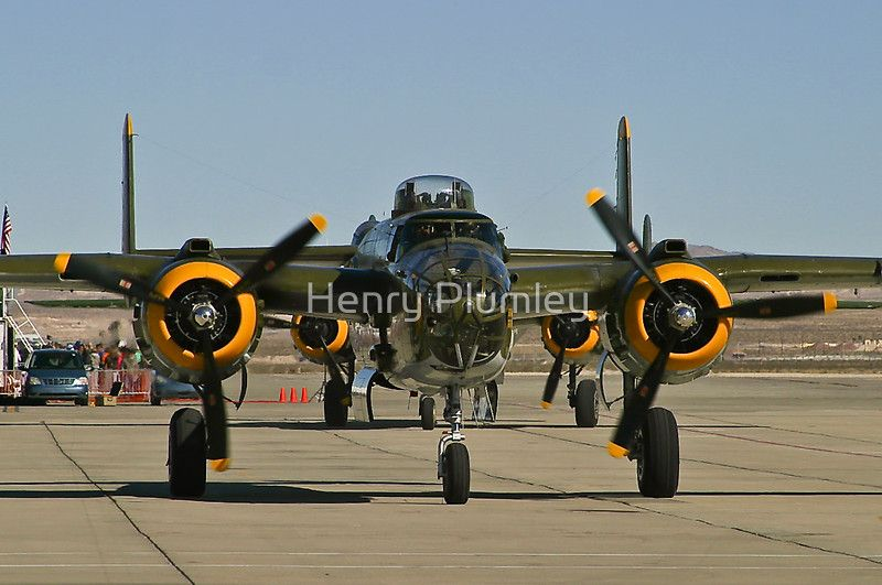 Tight shot of a B-25 Mitchell.