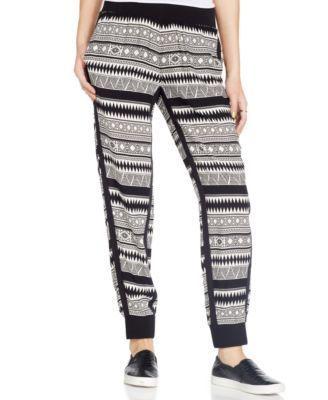 Vanilla Star Juniors' Printed Tuxedo-Stripe Soft Pants