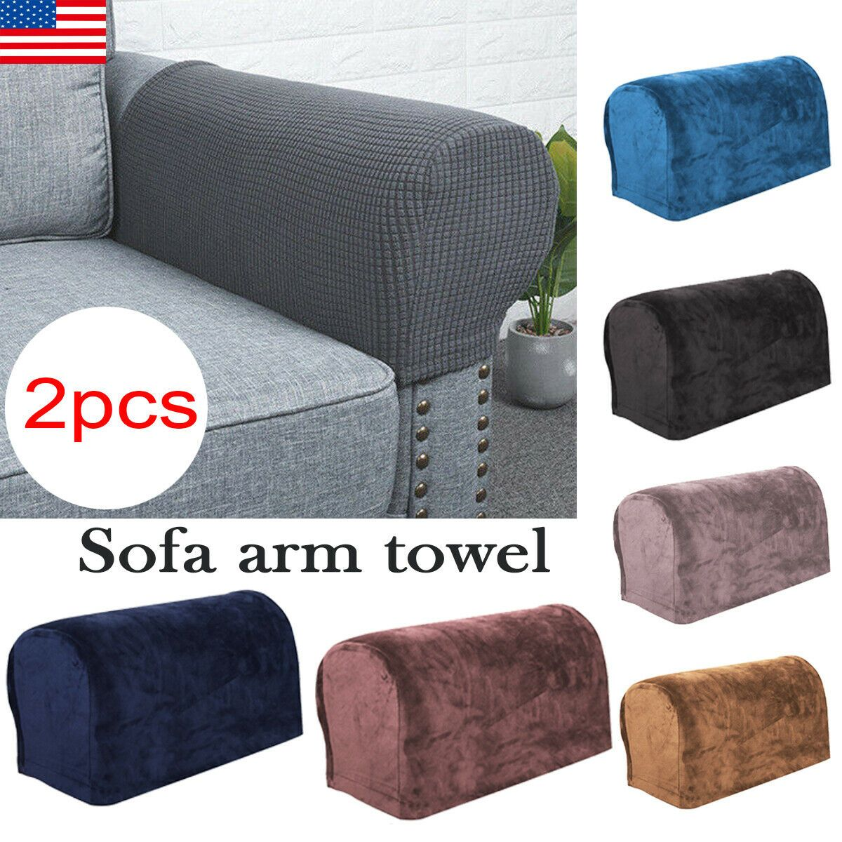 Removable Stretch Sofa Arm Rest Covers Armchair Couch Arm