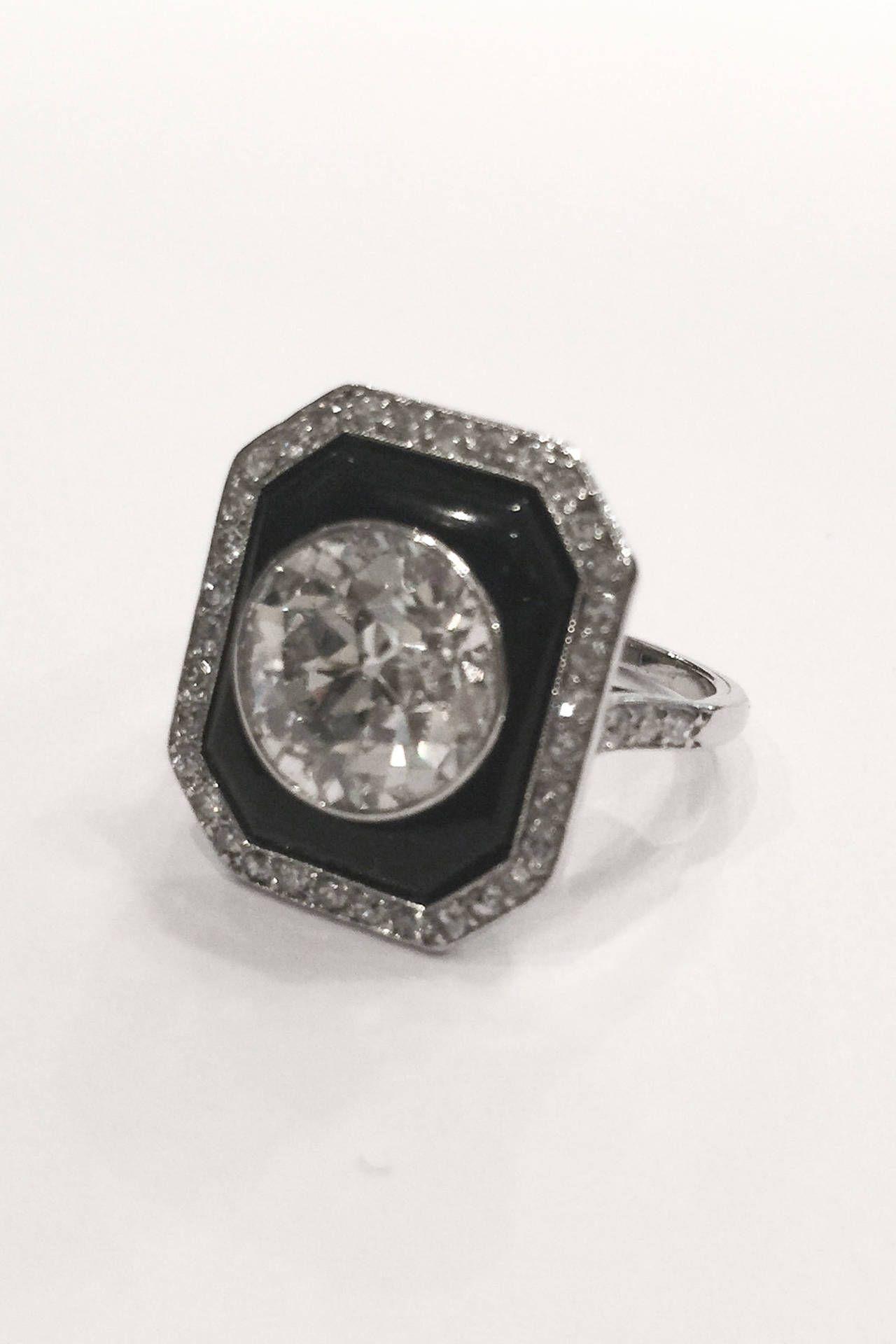 deco onyx 4 carat circular cut platinum ring