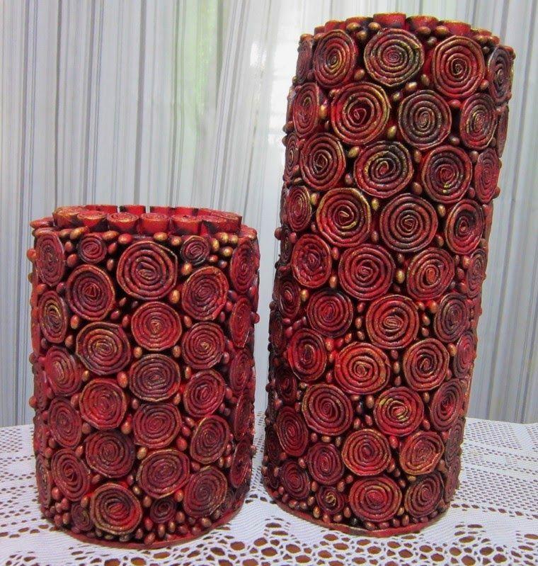 Par De Vasos Com Imagens Artesanatos De Papel Reciclados