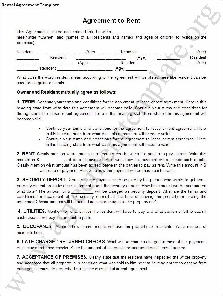 Renters Agreements  Lease Doc Page  Residential Rental