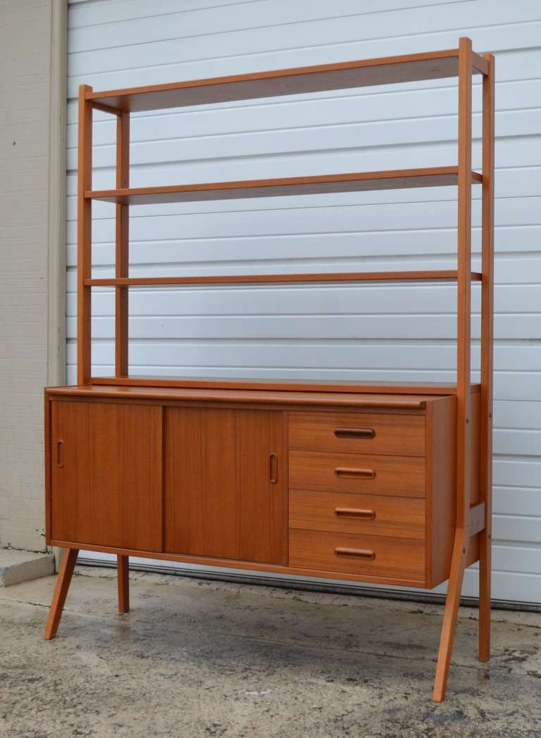Swedish MidCentury Modern Teak Desk and Hutch Midcentury modern