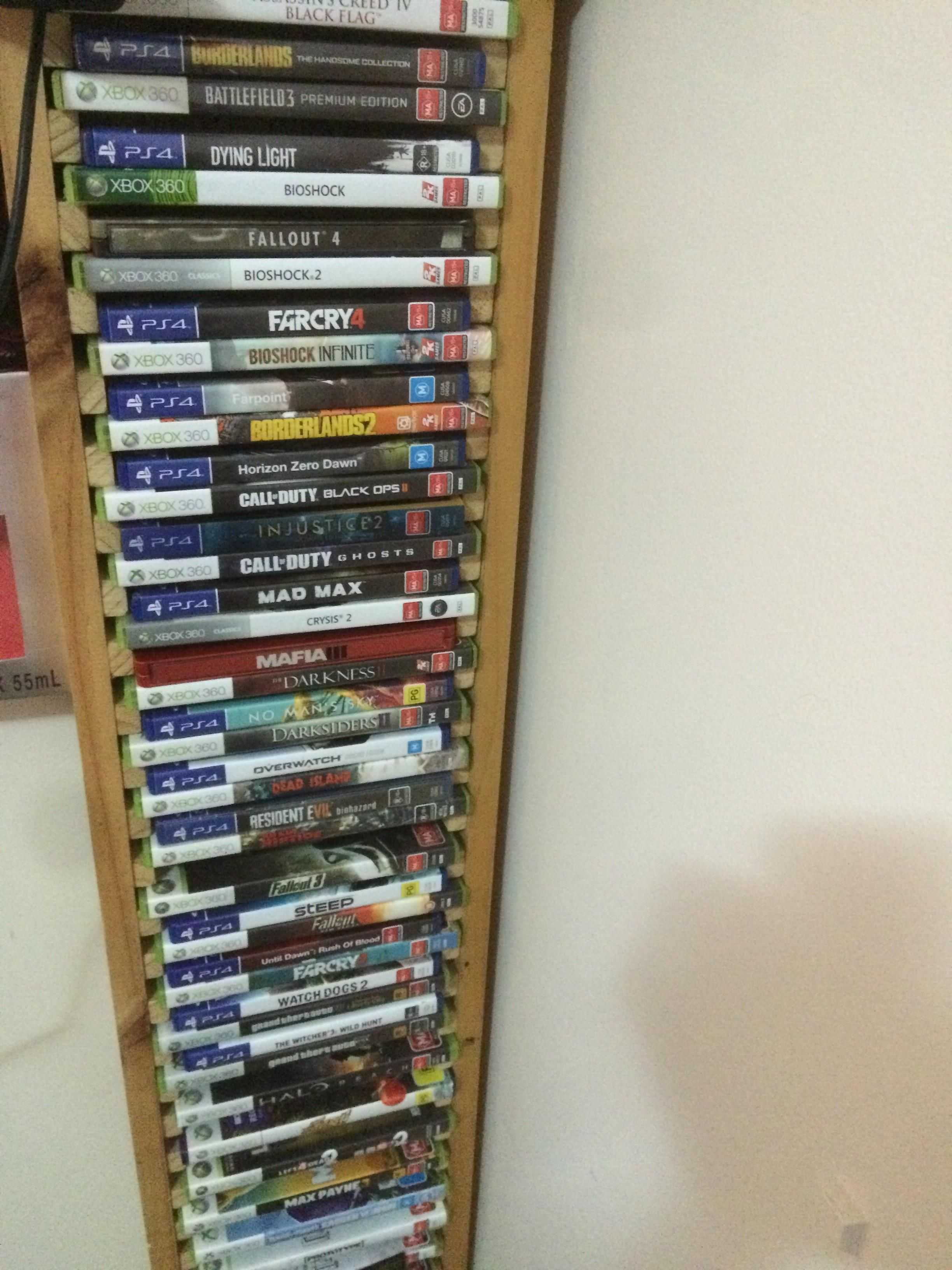 Thought You Guys Might Like My Game Rack Made For 360 Games That Happened To Perfectly Fit Ps4 Games When I Made The Switch Ps4 Games I Am Game Xbox 360 Games