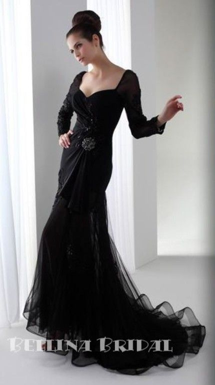 Modern Black Wedding Dress