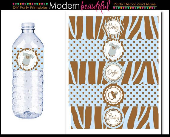 Baby Shower Printable Water Bottle Labels Brown by ModernBeautiful, $6.00