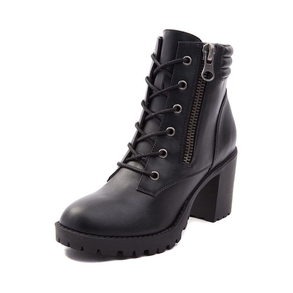 Womens Madden Girl Combat Boot - Black