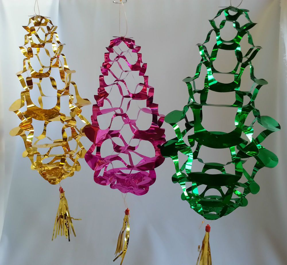Various Vintage 1970s Foil Color Hanging Christmas