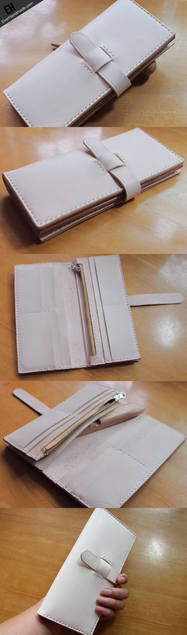 Handmade vintage purse leather wallet long phone wallet clutch wallet beige women #leatherwallets