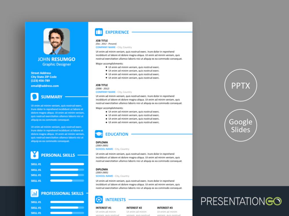Vasilis Modern Resume Template For Powerpoint And Google Slides Modern Resume Template Resume Template Resume Template Examples