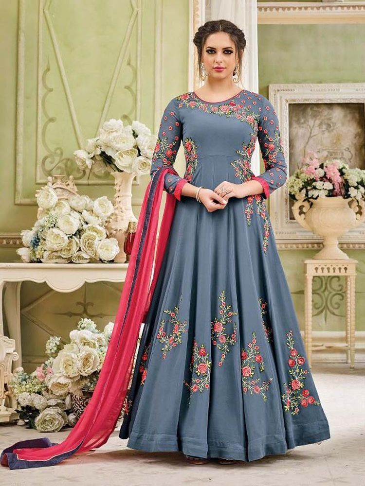 f1f48fca5d13 Designer Bollywood Indian Gray Color Floral Party wear SemeStitch Anarkali  Suit #Shoppingover #lehenga #WeddingPartywear