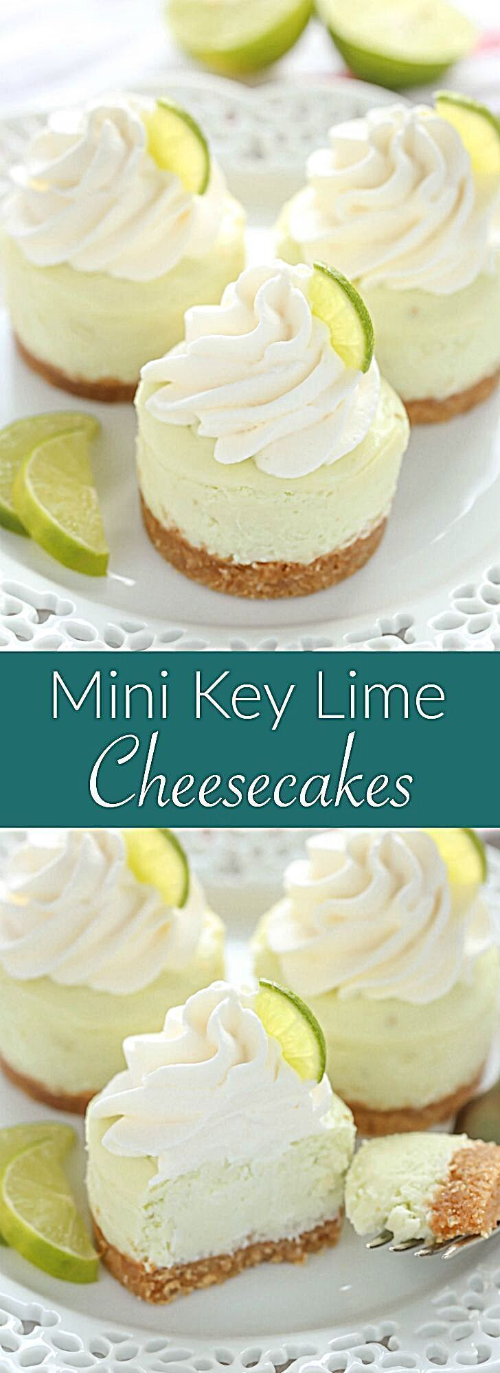 These Mini Key Lime Cheesecakes feature an easy homemade graham cracker crust topped with a smooth and creamy key lime cheesecake filling. The perfect dessert for any time of year! #foodrecipe #keylime #keylimepie #pie #dessert #limes #nobake #minidessert #sweets