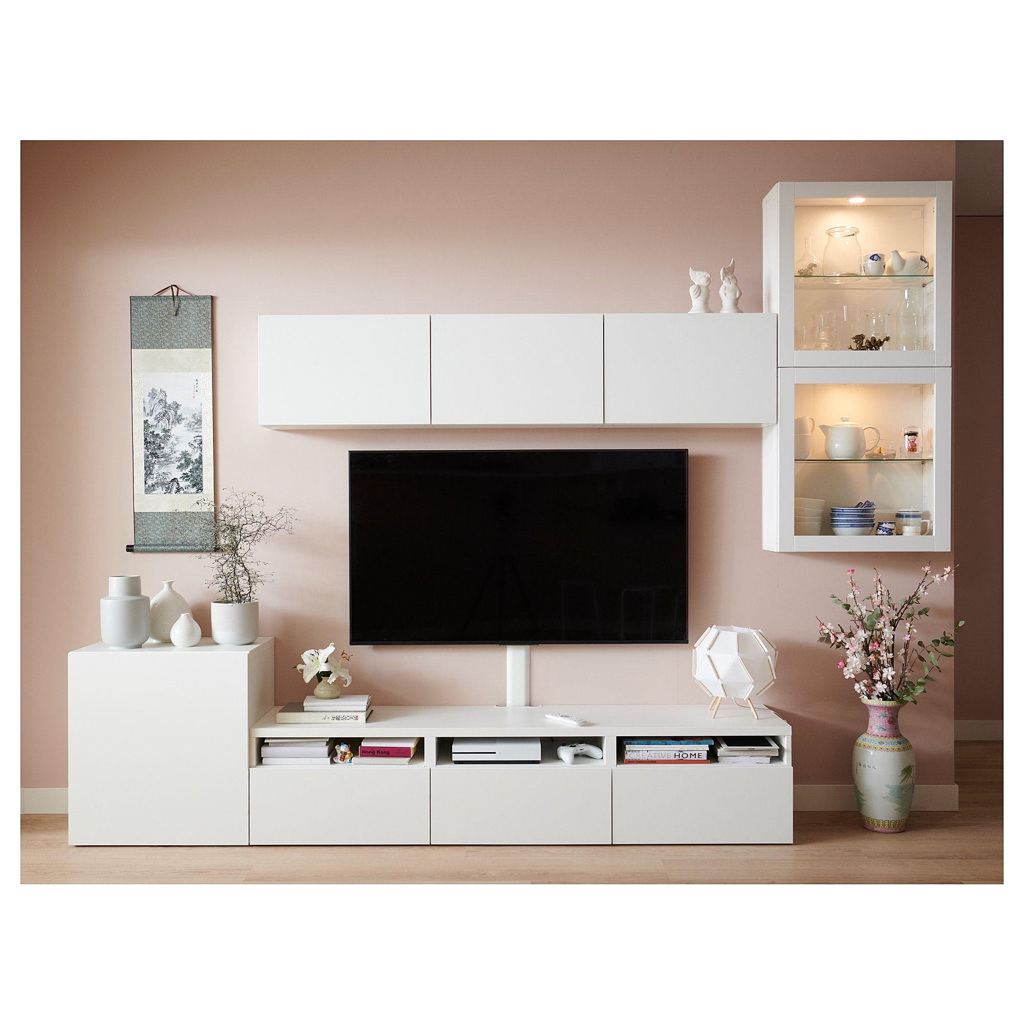 Photo of BESTÅ TV comb. with glass doors – Lappviken, Sindvik clear glass white – IKEA Austria