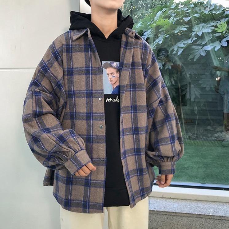 Vintage plaid men shirt