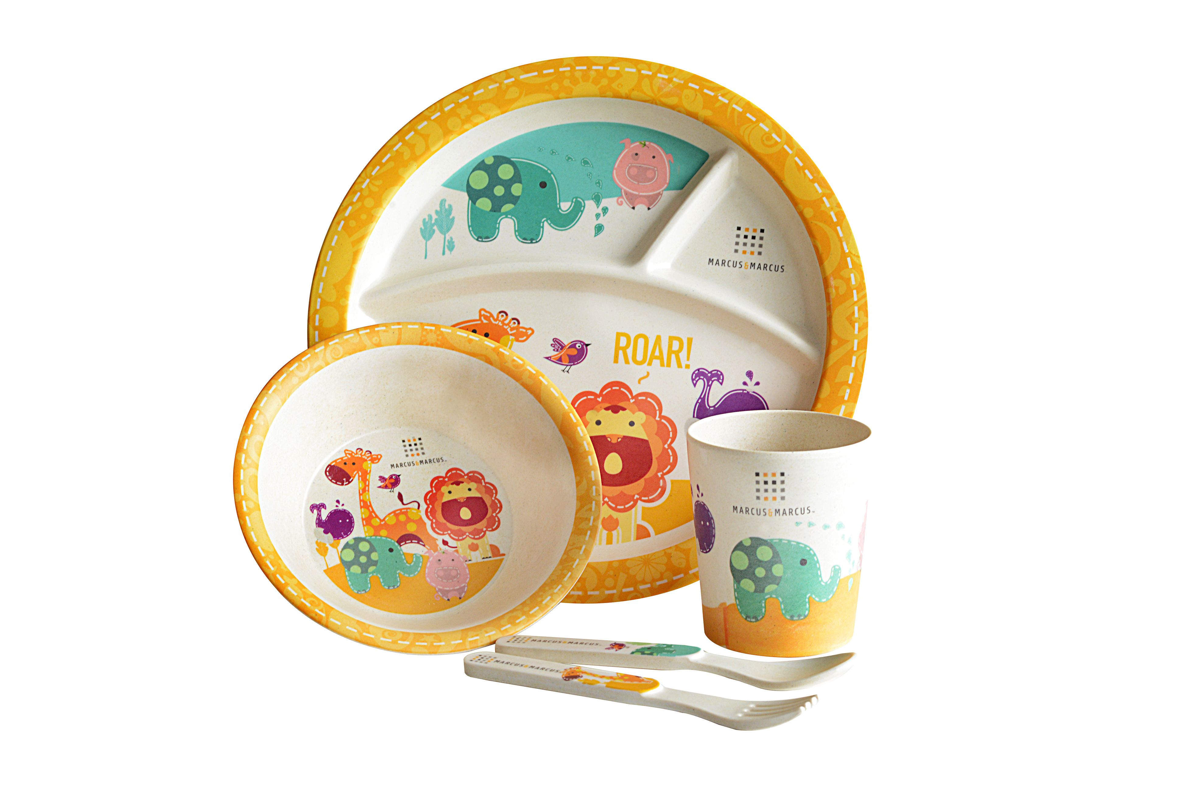 No More Plastic Marcus Marcus Animal Themed 5pc Bamboo Fiber Dining Set Is An Eco Friendly Colorful And Durable Baby Dinner Kids Flatware Baby Dish Sets