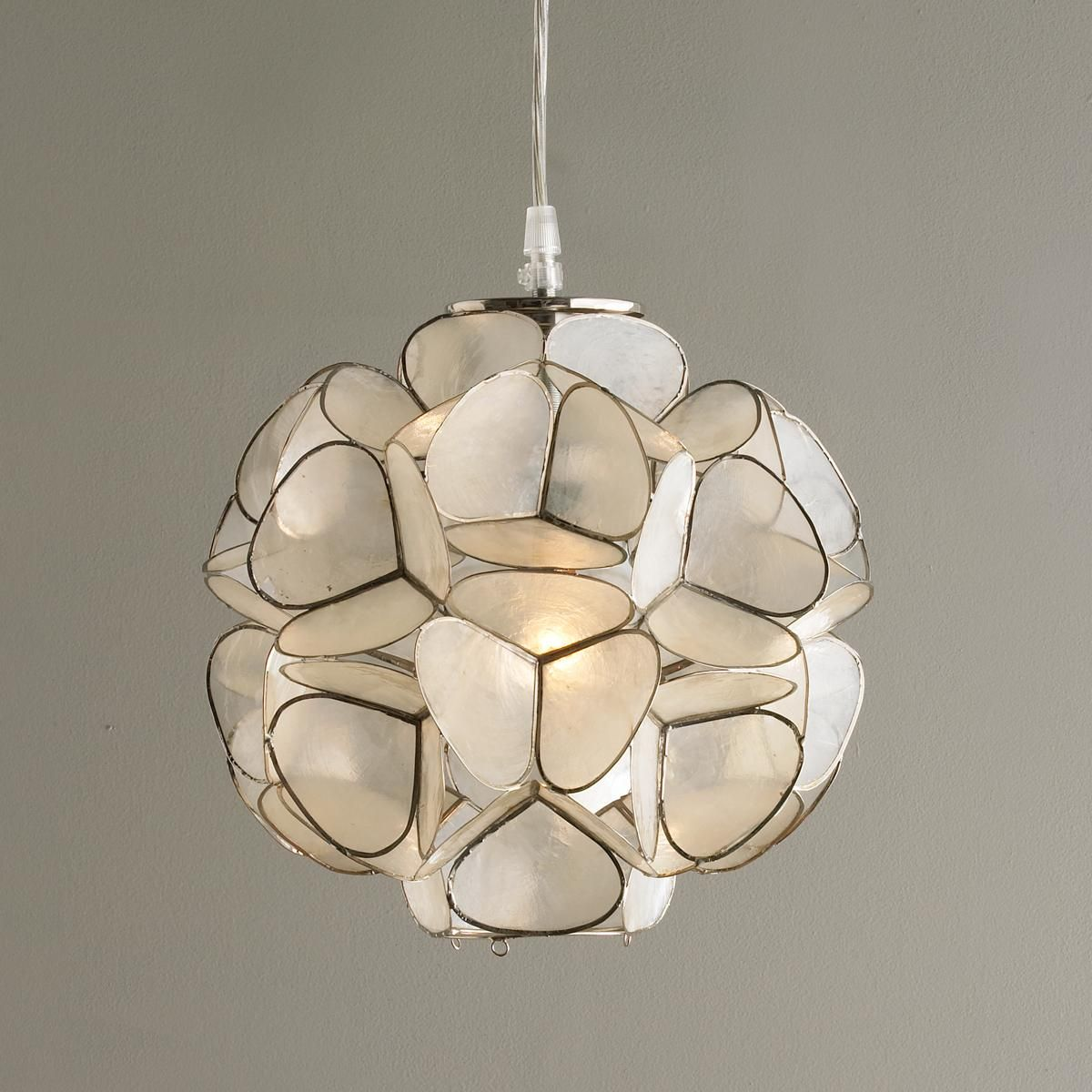 Capiz shell flower pendant light softly iridescent capiz shell all pendants explore our curated collection shades of light arubaitofo Images