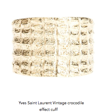 Vintage Yves Saint Laurent Vintage Crocodile Effect Cuff  http://www.1010parkplace.com/styles/vintage-yves-saint-laurent #WhereStyleIsAgeless