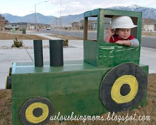 a Tractor made out of boxes- this would be fun next time I have a bunch of boxes!