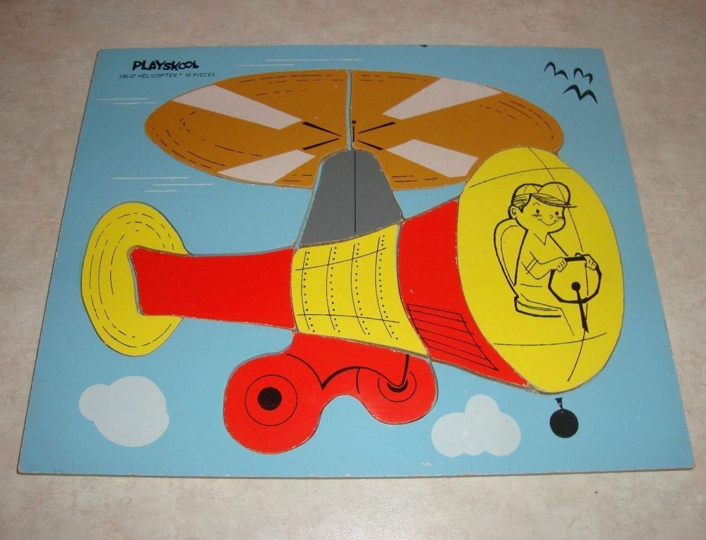 Vintage Playskool Helicopter Wooden Tray Puzzle #330-27 - 10 Pieces - Estate #Playskool