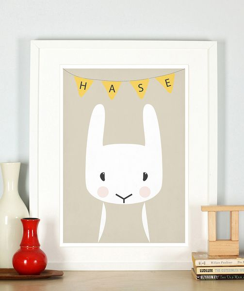 Retro Poster, Kinderzimmer, Hase, Tiere, A3 | Retro posters