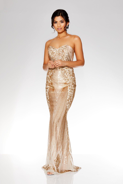 1acfe6a8cc0e Gold Sequin Embellished Maxi Dress | prom dresses | Dresses, Prom ...